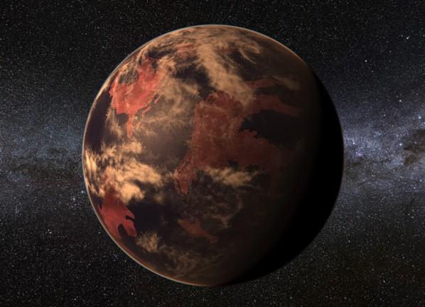 Concepção artística de planeta ao redor de estrela anã vermelha, como o recém-descoberto (Crédito: PHL/UPR)