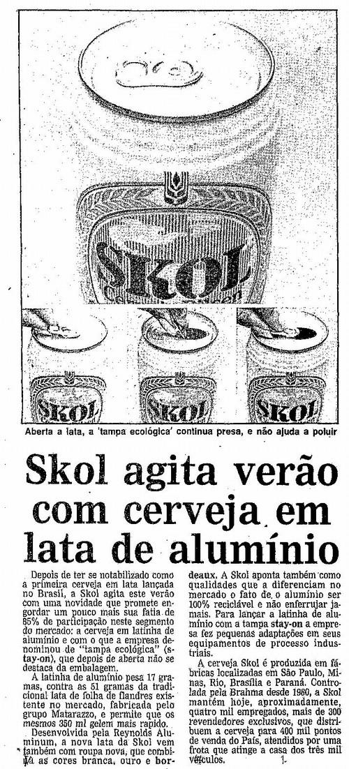 Matéria de jornal falando da lata de alumínio.