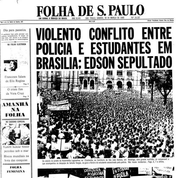 Edson Luís foi o estudante secundarista (ensino médio) de 18 anos, morto no restaurante Calabouço no Rio de Janeiro pela PM durante um os inúmeros confrontos com o governo da ditadura militar. Ele foi o primeiro estudante assassinado pelas mãos da ditadura.