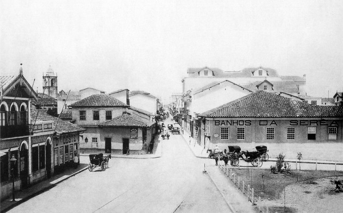 Largo São Bento em 1887. No centro a Rua São Bento