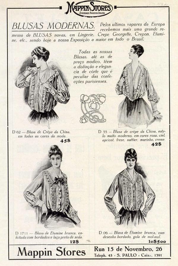Em 1916, o Mappin trazia blusas modernas para as senhoras.
