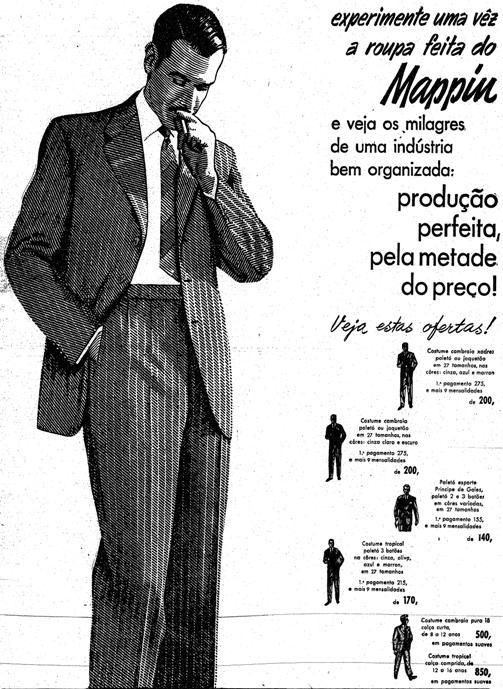 Anúncio do Mappin de 1952, valorizando a qualidade da roupa pronta, tão boa quanto a roupa feita nos alfaiates, e mais barata.