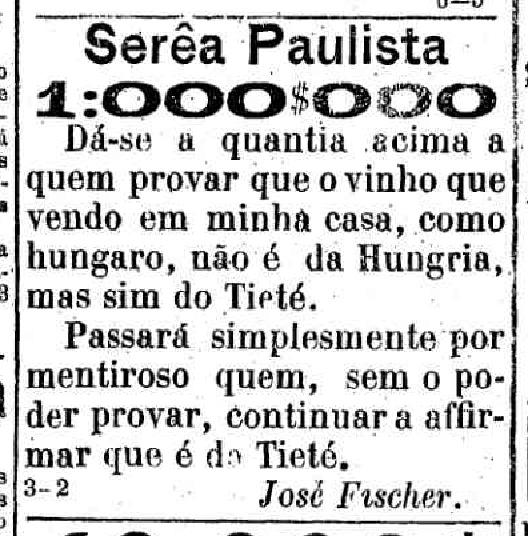 Anúncio publicado no jornal A Província de S. Paulo de 21-12-1887
