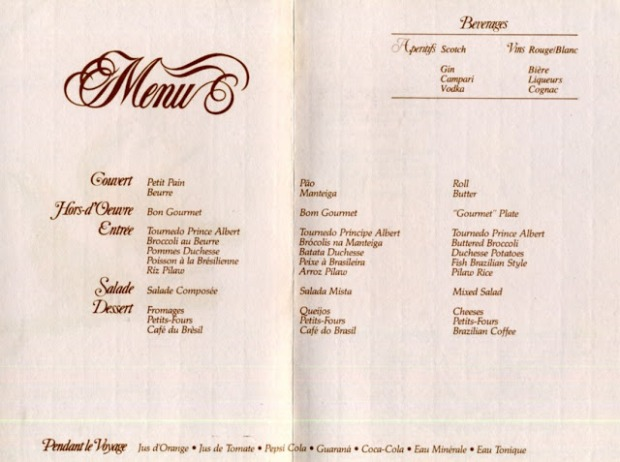 Olha que chique o menu da Varig!