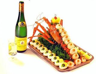 Lagosta e caviar servidos na primeira classe da Varig.