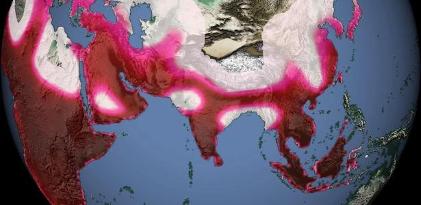 Esta imagem mostra ocupação populacional há 80 mil anos; áreas em vermelho mais escuro contêm até 28 indivíduos por 100 kms quadrados