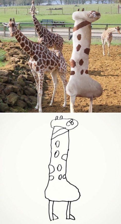 Esse é o desenho de uma girafa... Eh eh eh...